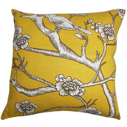 the pillow collection tadita yellow 18 x 18 floral throw pillow - The Pillow Collection