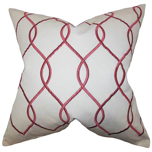 The Pillow Collection Jojo Red 18 x 18 Geometric Throw Pillow