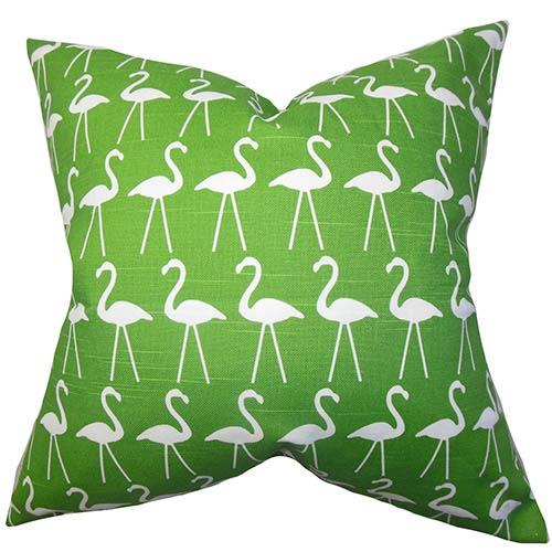 The Pillow Collection Elili Green 18 x 18 Animal Print Throw Pillow