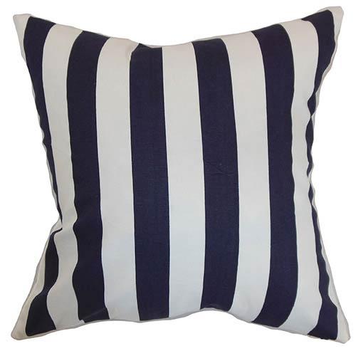 Ilaam Blue 18 x 18 Stripes Throw Pillow