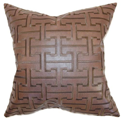 The Pillow Collection Quine Espresso 18 x 18 Geometric Throw Pillow