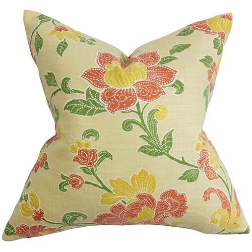 The Pillow Collection Duscha Yellow and Red 18 x 18 Floral Throw Pillow