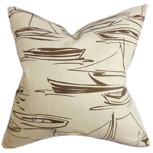 The Pillow Collection Gamboola Brown 18 x 18 Nautical Throw Pillow