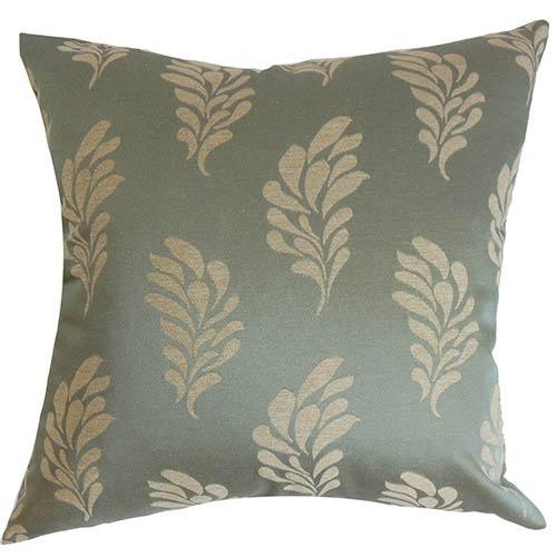 The Pillow Collection Enchanter Blue 18 x 18 Floral Throw Pillow
