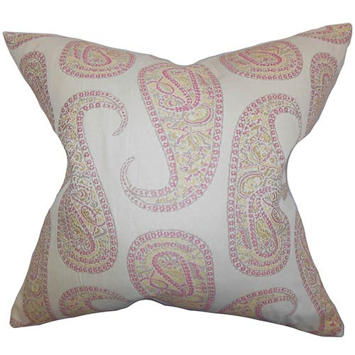 The Pillow Collection Amahl Pink 18 x 18 Paisley Throw Pillow