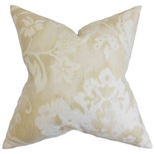 The Pillow Collection Emese Neutral 18 x 18 Floral Throw Pillow