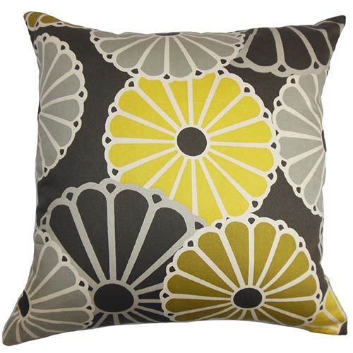 The Pillow Collection Gisela Yellow and Gray 18 x 18 Floral Throw Pillow