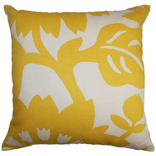 The Pillow Collection Fayre Yellow 18 x 18 Floral Throw Pillow
