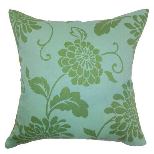 The Pillow Collection Hanako Floral Pillow Ocean