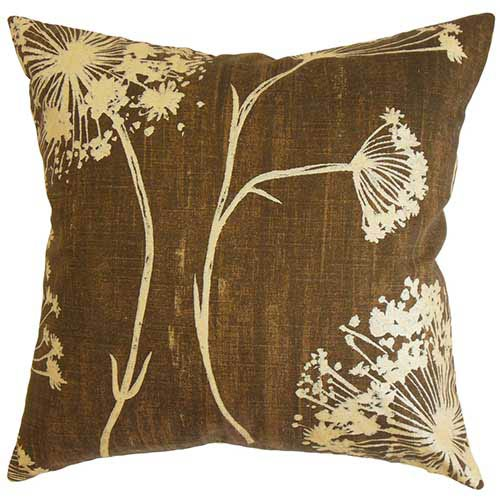 The Pillow Collection Garuahi Brown 18 x 18 Floral Throw Pillow