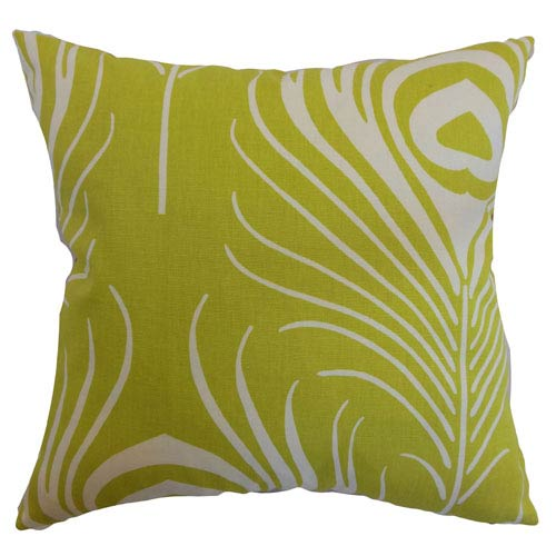 The Pillow Collection Lamassa Peacock Pillow Chartreuse