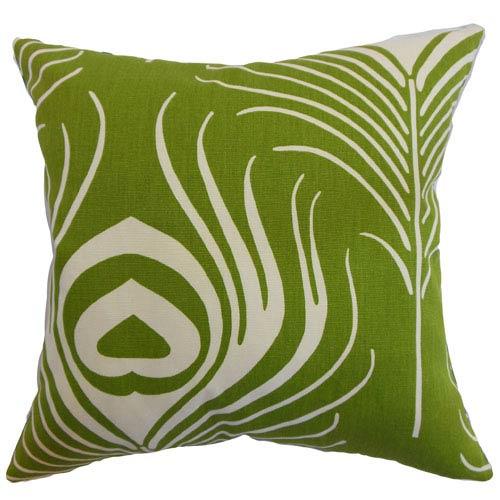 The Pillow Collection Lamassa Peacock Pillow Green