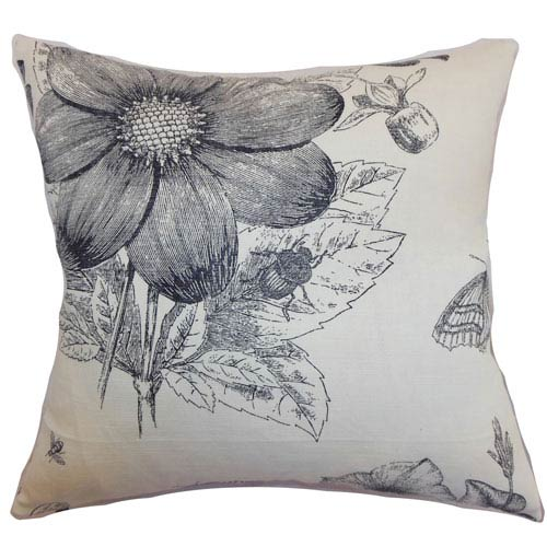 The Pillow Collection Mareeba Floral Pillow Black