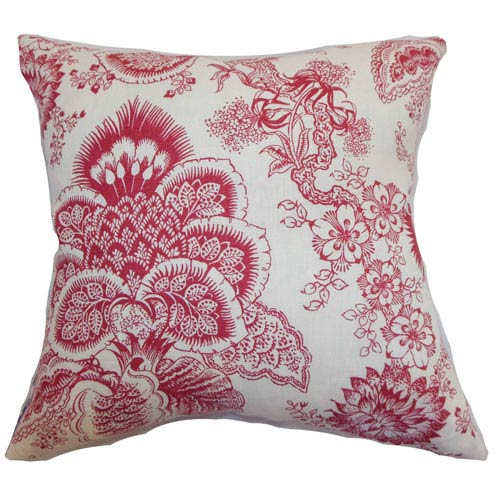 The Pillow Collection Paionia Floral Pillow Red