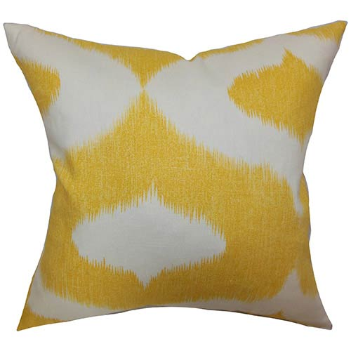 The Pillow Collection Leilani Yellow 18 x 18 Geometric Throw Pillow