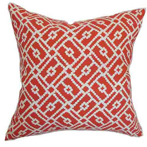 The Pillow Collection Majkin Red 18 x 18 Geometric Throw Pillow