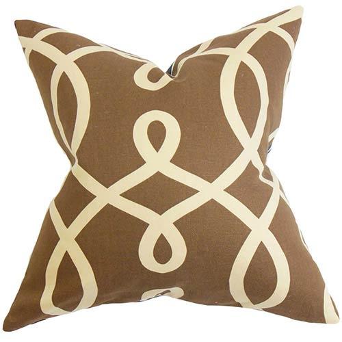 The Pillow Collection Chloris Brown 18 x 18 Geometric Throw Pillow