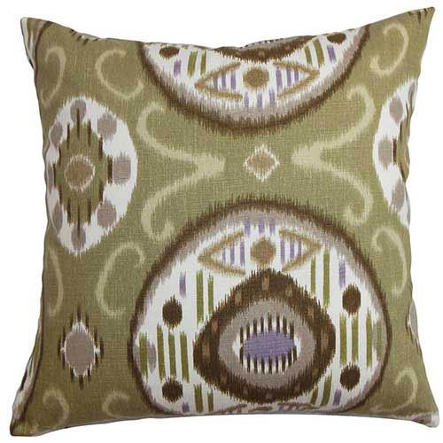 The Pillow Collection Maitryi Green 18 x 18 Geometric Throw Pillow