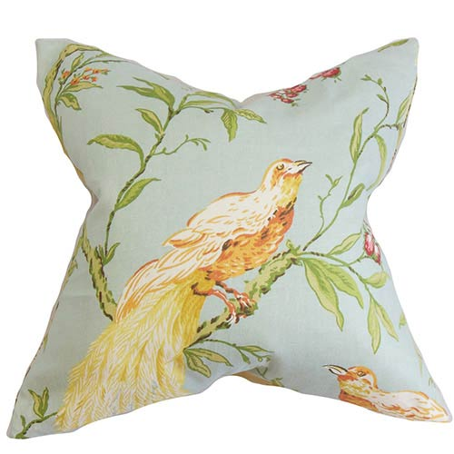 The Pillow Collection Giulia Blue and Green 18 x 18 Floral Throw Pillow