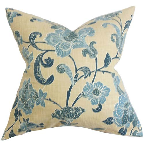 The Pillow Collection Duscha Blue and Yellow 18 x 18 Floral Throw Pillow