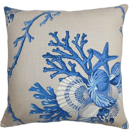 The Pillow Collection Maj Blue 18 x 18 Coastal Throw Pillow