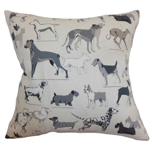 The Pillow Collection Wonan Dogs Print Pillow Grey Stone