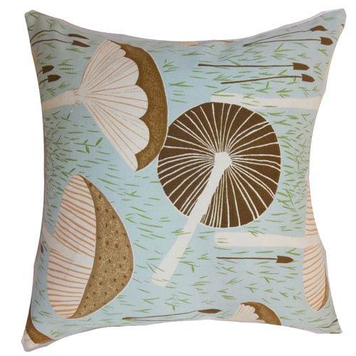 The Pillow Collection Xichan Floral Pillow Aqua Cocoa