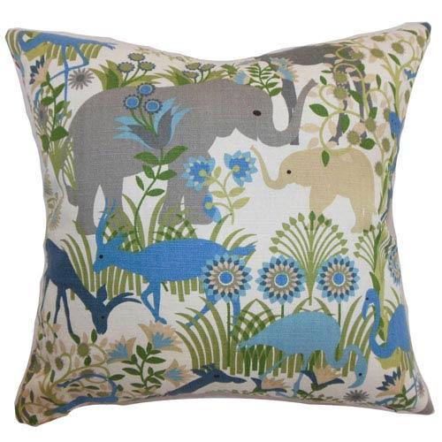 The Pillow Collection Caprivi Flora & Fauna Pillow Blue Haze