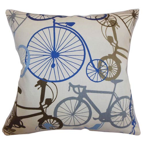 The Pillow Collection Echuca Bicycles Pillow Blue Brown