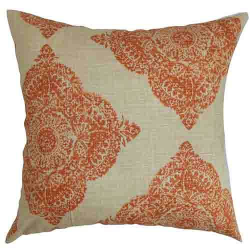 The Pillow Collection Daganya Orange 18 x 18 Patterned Throw Pillow