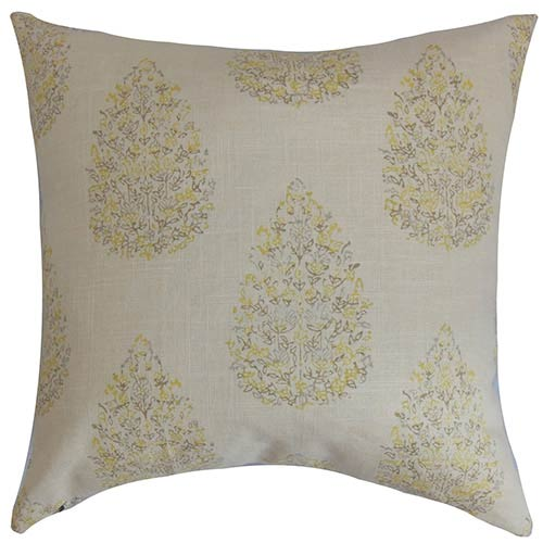 The Pillow Collection Faeyza Lemon Green 18 x 18 Floral Throw Pillow