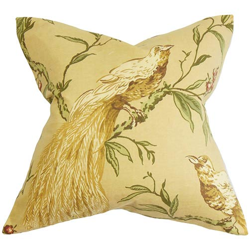 The Pillow Collection Giulia Yellow 18 x 18 Floral Throw Pillow