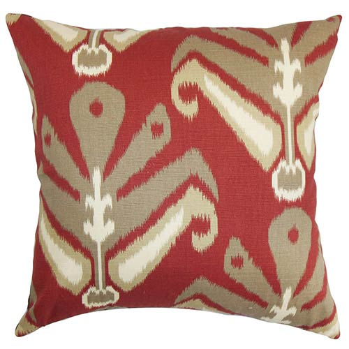 The Pillow Collection Sakon Red 18 x 18 Patterned Throw Pillow