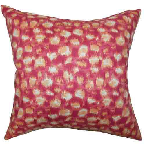 The Pillow Collection Imperartiz Pink and Yellow 18 x 18 Geometric Throw Pillow