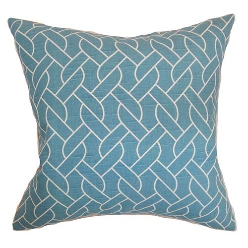 The Pillow Collection Neptune Aqua 18 x 18 Geometric Throw Pillow