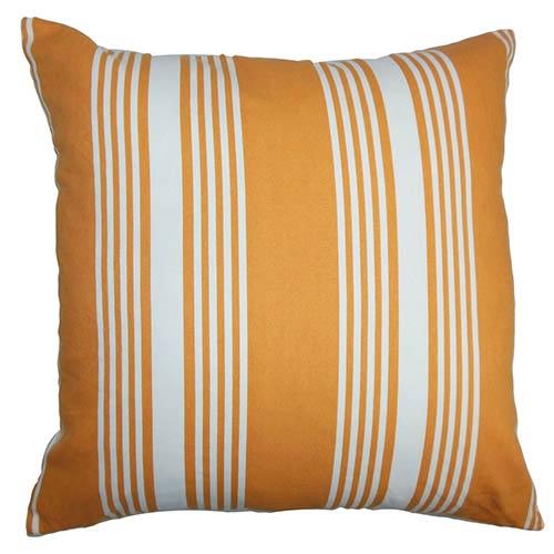 The Pillow Collection Perri Orange 18 x 18 Stripes Throw Pillow