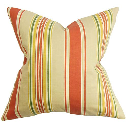 The Pillow Collection Hollis Orand and Yellow 18 x 18 Stripes Throw Pillow