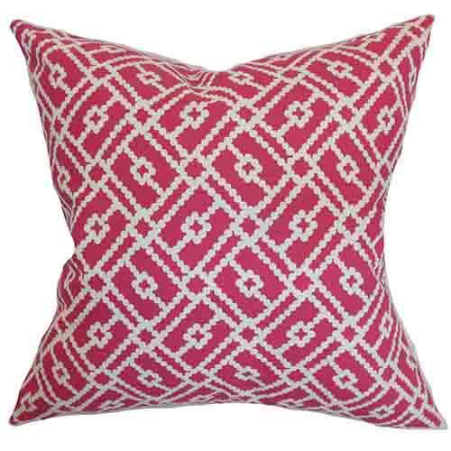 The Pillow Collection Majkin Pink 18 x 18 Geometric Throw Pillow