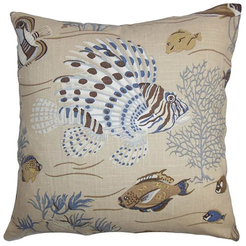 The Pillow Collection Niju Blue 18 x 18 Coastal Throw Pillow