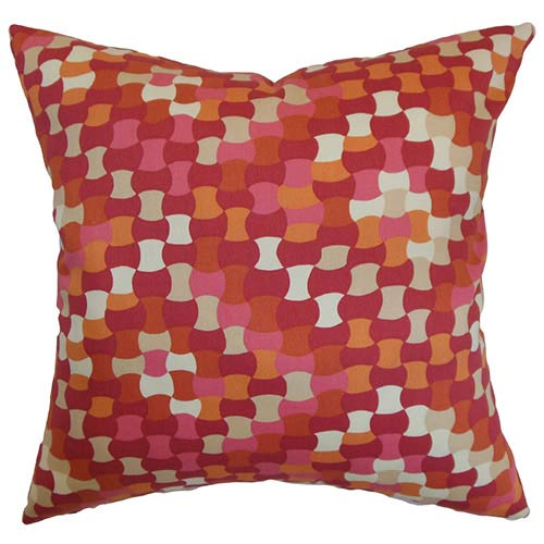 The Pillow Collection Gaya Red 18 x 18 Geometric Throw Pillow
