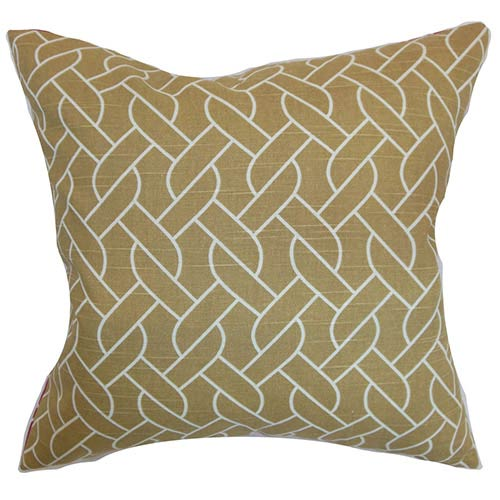 The Pillow Collection Neptune Neutral 18 x 18 Geometric Throw Pillow