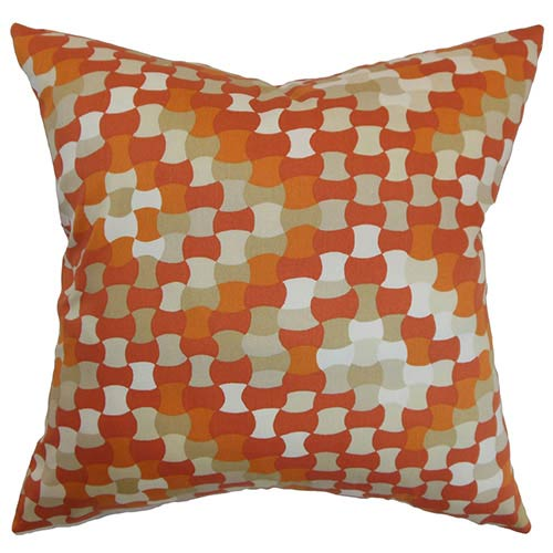 The Pillow Collection Gaya Orange 18 x 18 Geometric Throw Pillow
