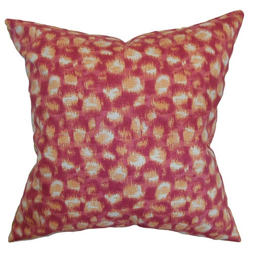 The Pillow Collection Imperartiz Pink and Ivory 18 x 18 Geometric Throw Pillow