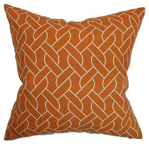 The Pillow Collection Neptune Orange 18 x 18 Geometric Throw Pillow