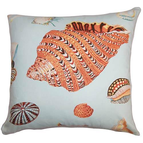 The Pillow Collection Rayen Orange 18 x 18 Coastal Throw Pillow