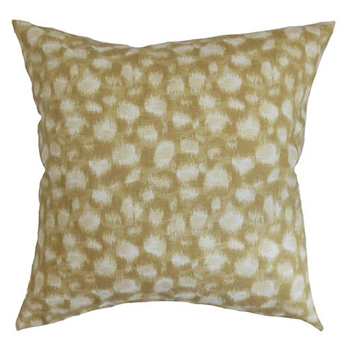The Pillow Collection Imperartiz Yellow and Sand 18 x 18 Geometric Throw Pillow