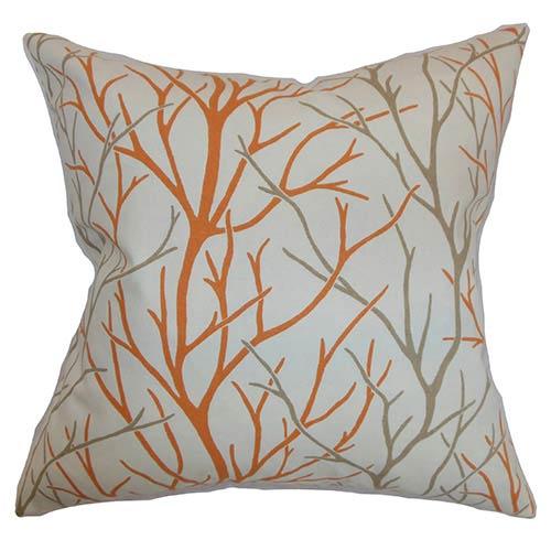 Fderik Orange 18 x 18 Patterned Throw Pillow