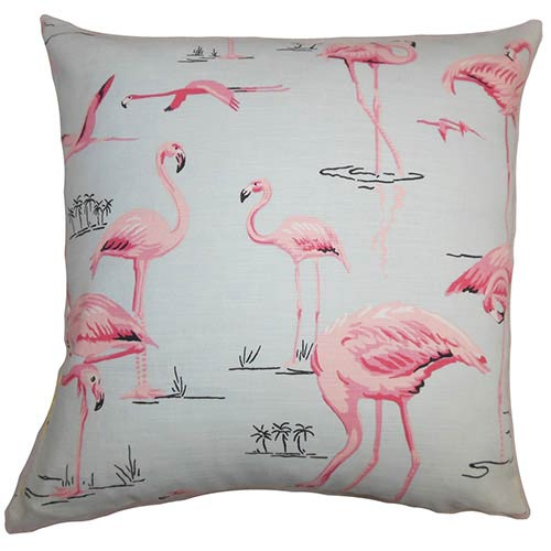 The Pillow Collection Qusay Blue and Pink 18 x 18 Animal Throw Pillow