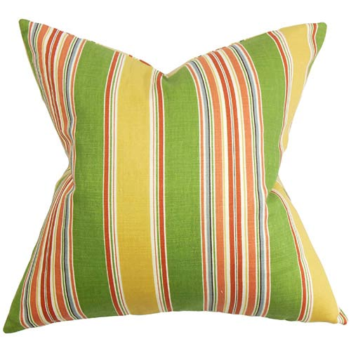 The Pillow Collection Hollis Green and Yellow 18 x 18 Stripes Throw Pillow