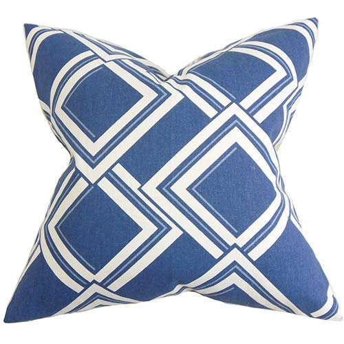 The Pillow Collection Jersey Blue 18 x 18 Geometric Throw Pillow